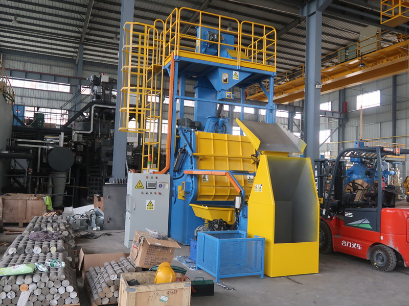 Mayflay Automatic Rubber Belt Tumble Shot Blasting Machine MB200-P11-1 Is Used For Precision Casting Industry
